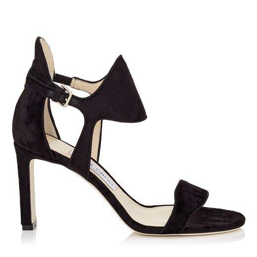 Jimmy Choo Molly 85 Black Crushed Velvet Sandals