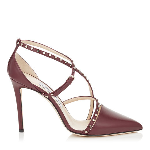 Jimmy Choo Tiff 100 Vino Shiny Calf Leather Pointy Toe Pumps With Stud Details