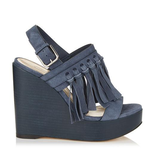 Jimmy Choo Nya 120 Stormy Blue Suede Wedges With Fringing