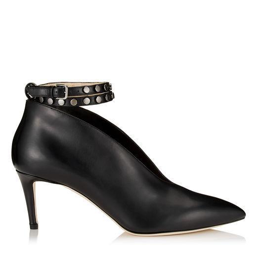 Jimmy Choo Lark 65 Black Shiny Calf Leather Booties