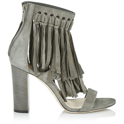 Jimmy Choo Malia 95 Mink Suede Sandals With Fringe Detailing