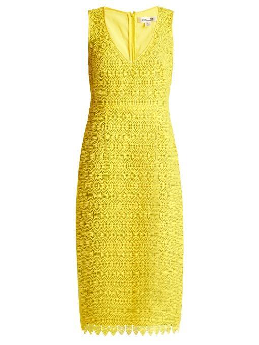 Diane Von Furstenberg Sleeveless V-Neck Tailored Midi Dress, Yellow