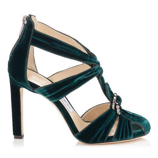 Jimmy Choo Krissy 100 Bottle Green Velvet Round Toe Sandals With Swarovski Crystal Brooch In Bottle Green/Steel