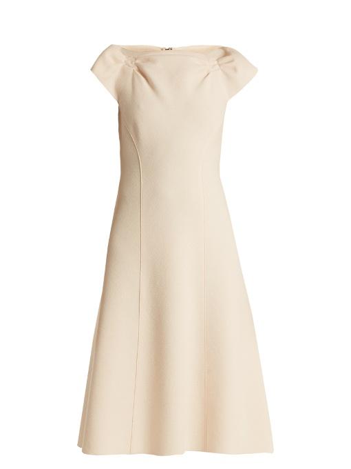 Bottega Veneta Boat-Neck Wool-Crepe Midi Dress In Ivory