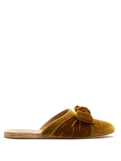 Ancient Greek Sandals Pasoumi Bow Velvet Backless Flats Blue In Mustard