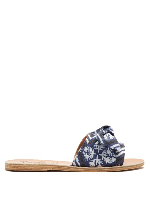 Ancient Greek Sandals Taygete Bandana Bow Slides In Blue White