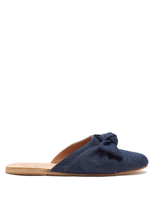 Ancient Greek Sandals Pasoumi Bow Velvet Backless Flats In Dark Denim