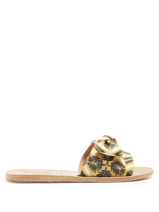Ancient Greek Sandals Taygete Bow Twill Sandals In Yellow Multi