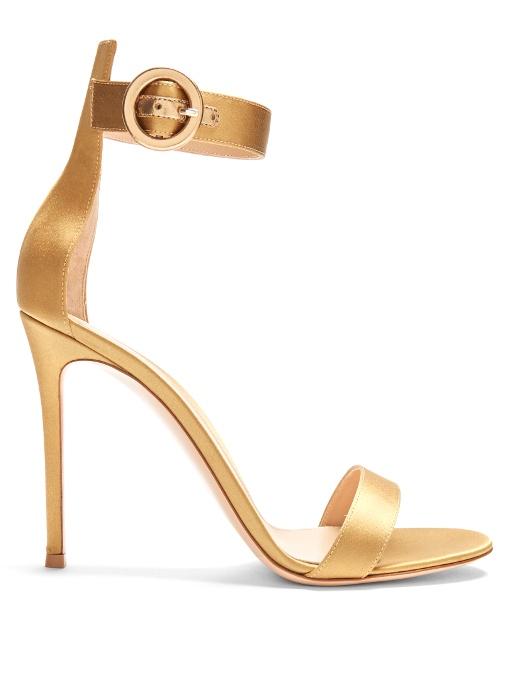 Gianvito Rossi Portofino Satin Sandals In Colour: Gold