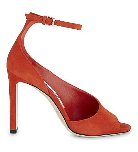 Jimmy Choo Theresa 100 Suede Heeled Sandals In Fire