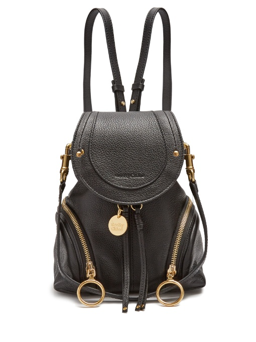 See By ChloÉ Olga Grained-Leather Backpack In Black