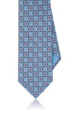 Brioni Medallion Silk Jacquard Necktie In Lt. Blue