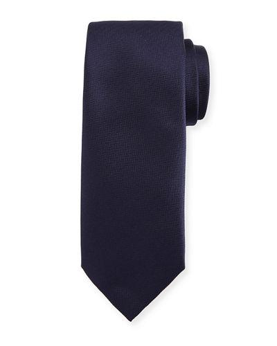 Brioni Solid Chevron Silk Tie In Blue