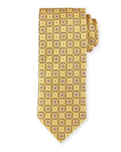 Brioni Woven Boxes Silk Tie In Gold