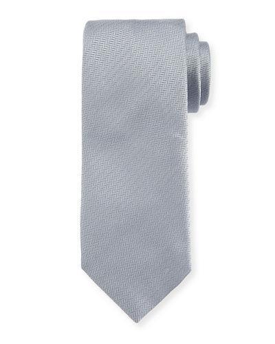 Brioni Solid Chevron Silk Tie In Gray