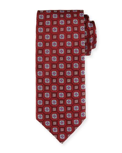 Brioni Medallion-Print Silk Jacquard Necktie In Red