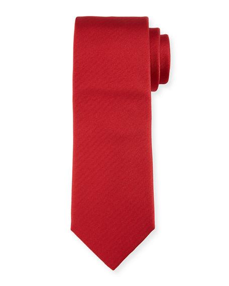 Brioni Solid Chevron Silk Tie In Red