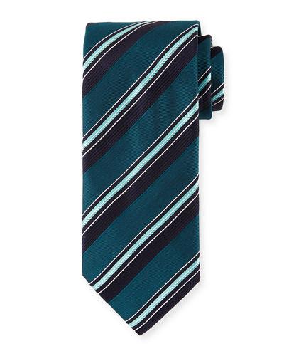 Brioni Satin Stripe Silk Tie In Green