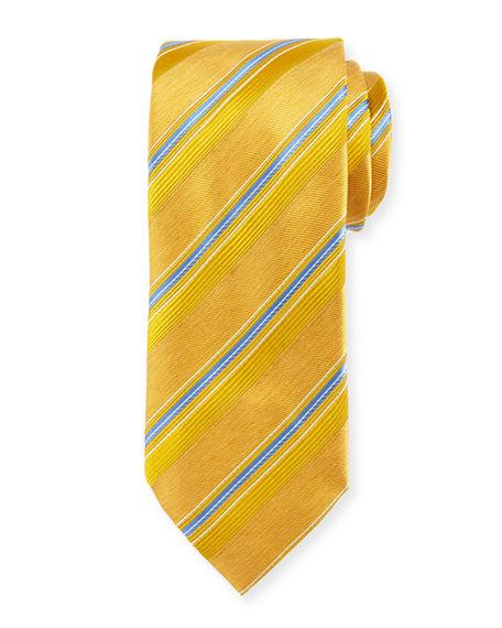 Brioni Satin Stripe Silk Tie In Gold