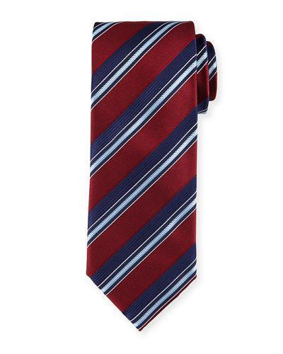 Brioni Satin Stripe Silk Tie In Red