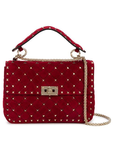 Valentino Red Rockstud Spike Suede Shoulder Bag