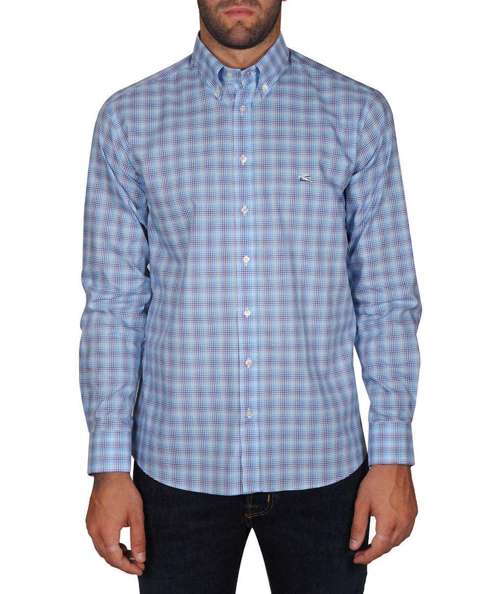 Etro Men's  Light Blue Cotton Shirt