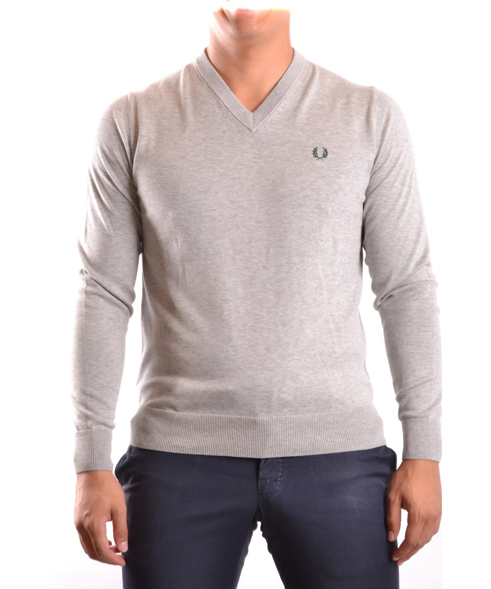 Fred Perry Men's  Grey Cotton Sweater