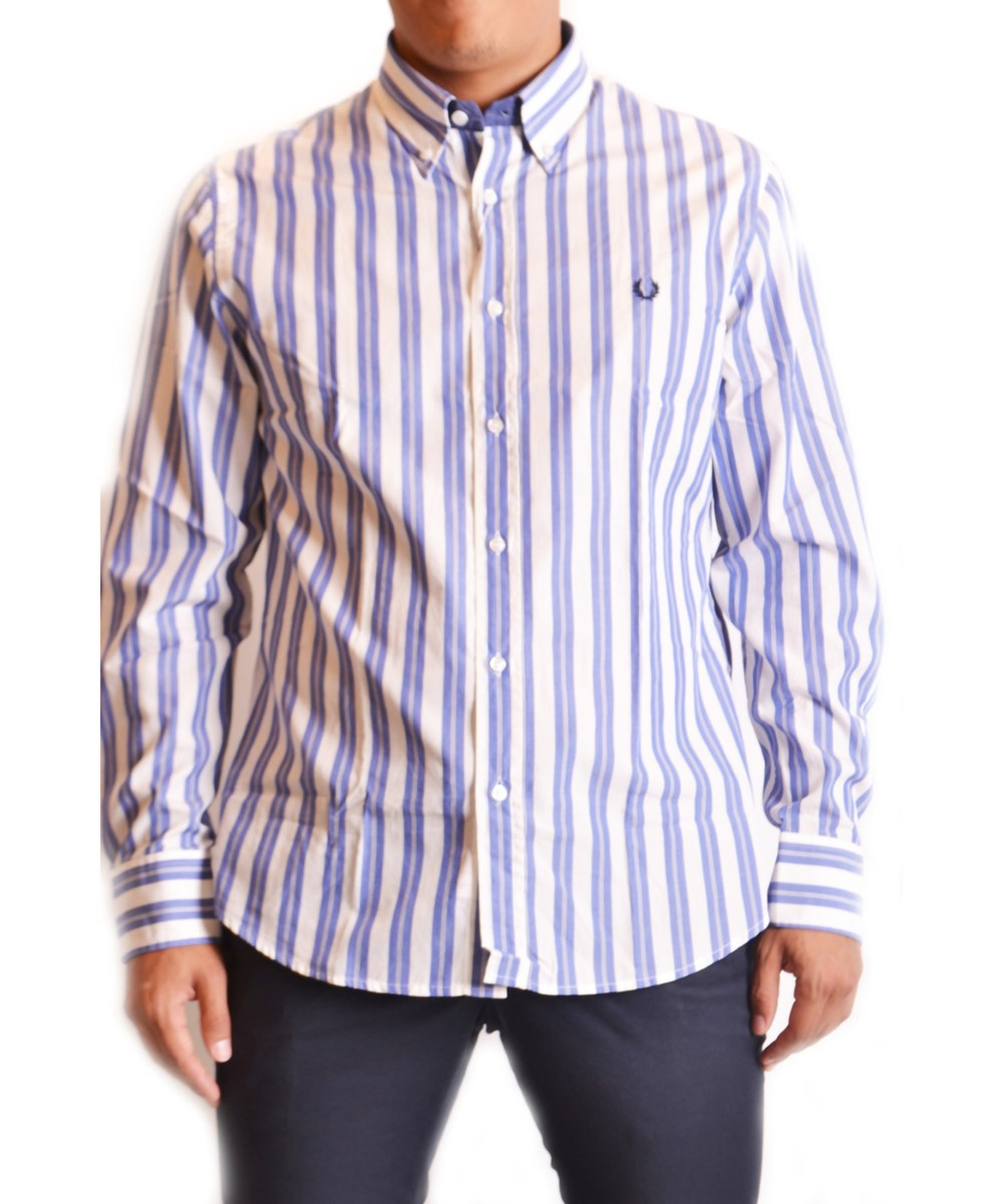Fred Perry Men's  White/Blue Cotton Shirt