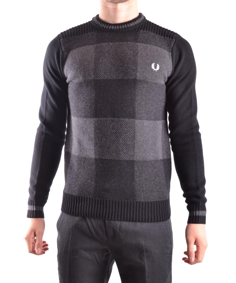 Fred Perry Men's  Grey/Black Wool Sweatshirt