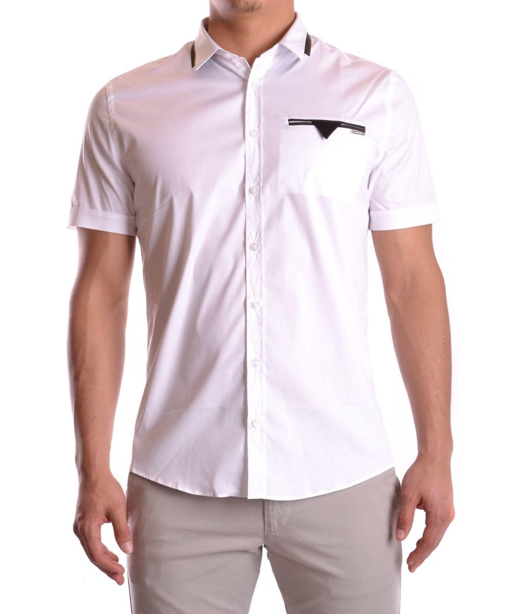 Les Hommes Men's  White Cotton Shirt