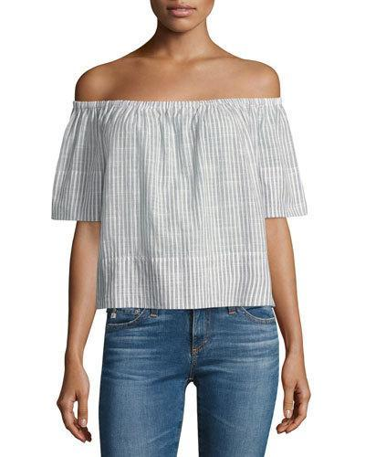 Ag Sylvia Off The Shoulder Stripe Linen Twill Top In Blue