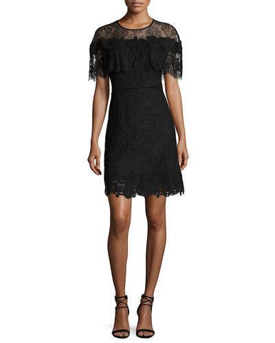 Kobi Halperin Vivi Short-Sleeve Popover Lace Cocktail Dress, White In Black