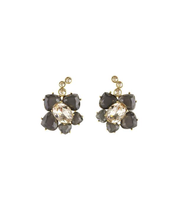 Oscar De La Renta Faceted Resin Flower Pierced Earrings In Gold