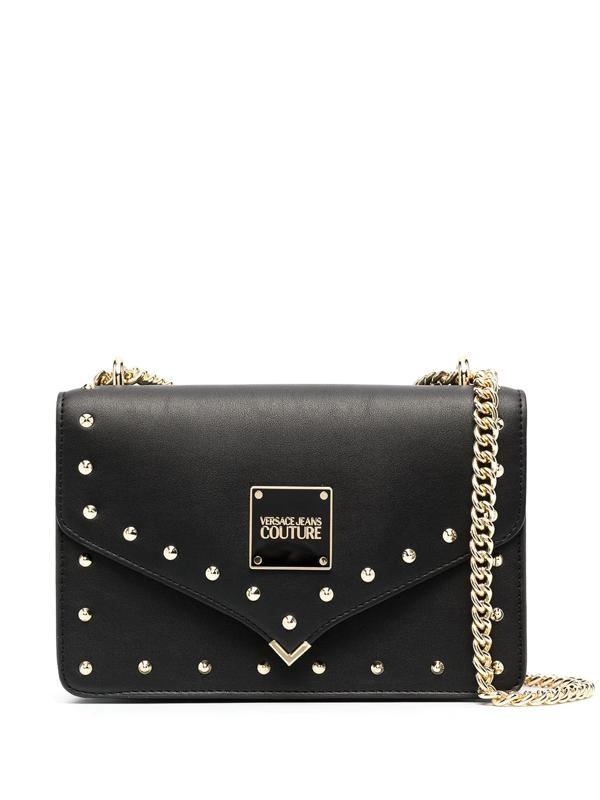 Versace Jeans Couture Studded Logo Shoulder Bag In Black