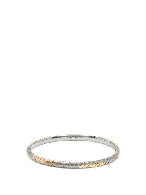 Bottega Veneta Intrecciato-engraved Bracelet In Gold