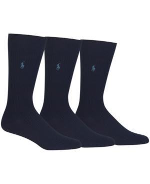 Polo Ralph Lauren Men's 3 Pack Ribbed Dress Socks In Navy