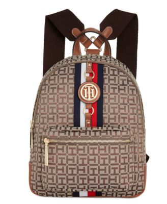 4ee43c6a Tommy Hilfiger Jaden Monogram Jacquard Small Backpack In Tan/Dark Chocolate