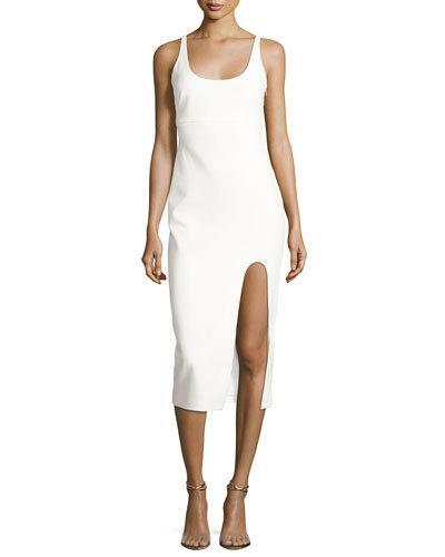 Cinq À Sept Breena Sleeveless High-Slit Midi Dress, Ivory