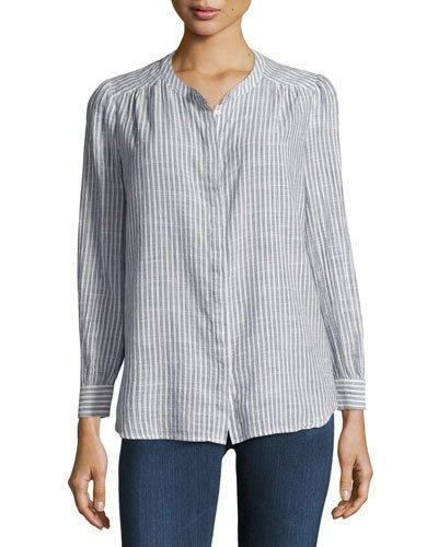 Ag Simone Button-Front Striped Shirt, Blue