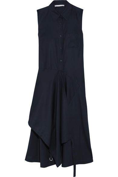 Stella Mccartney Willow Asymmetric Cotton-Poplin Midi Dress