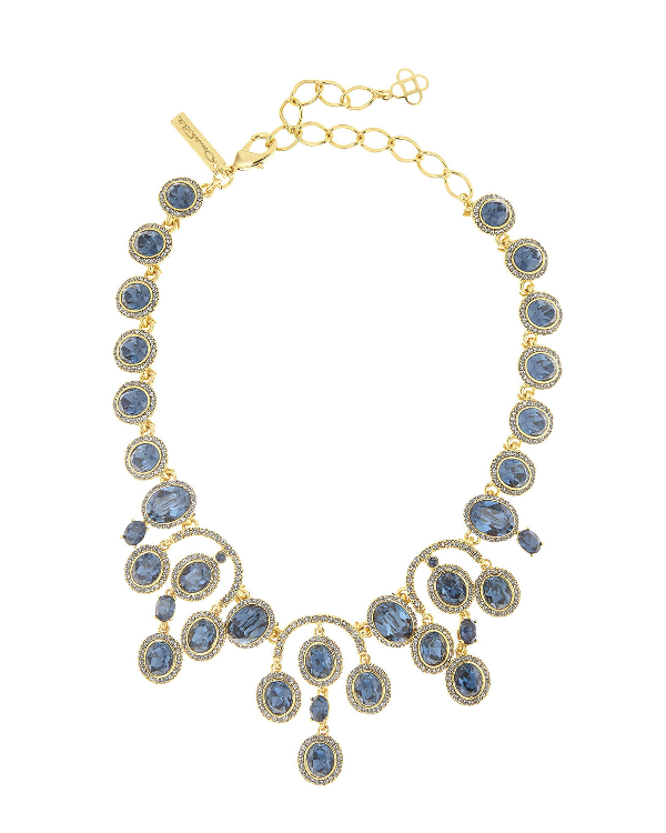 Oscar De La Renta PavÉ Oval Crystal Necklace, Blue/Golden