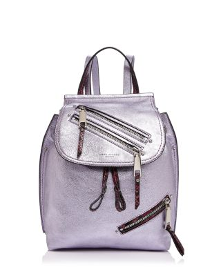 Marc Jacobs Zip Pack Embossed Trim Metallic Leather Backpack In Metallic Lilac Multi/Gold