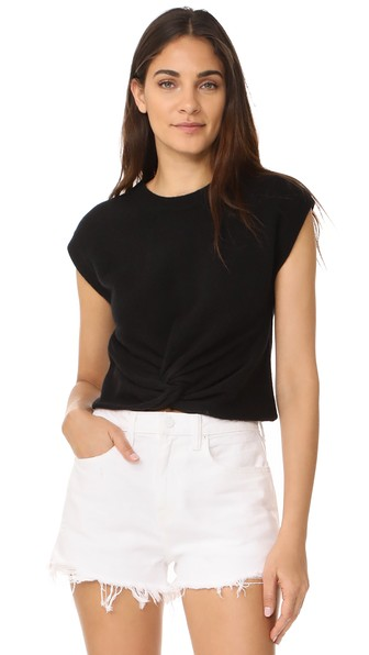T By Alexander Wang Twist Front Sweater In Black