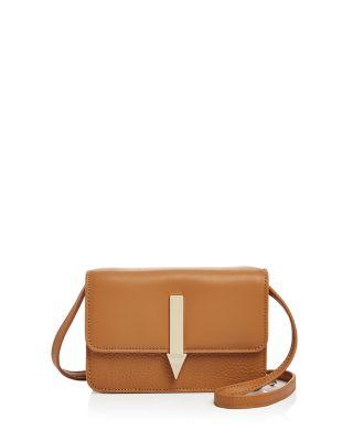 Karen Walker Millie Leather Crossbody In Tan/Gold