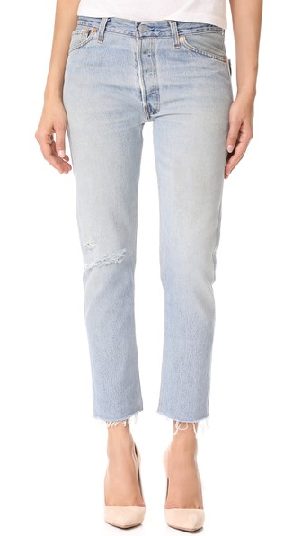 Re/Done X Levi's Relaxed Cropped Jeans In Destruction