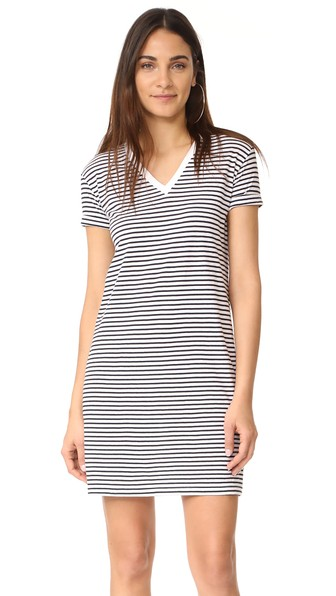 T By Alexander Wang V Neck Dress In White With Navy Stripes