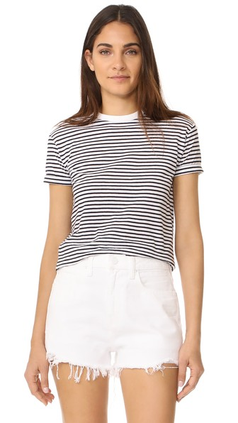 T By Alexander Wang Short Sleeve Crew Neck Tee In White With Navy Stripes
