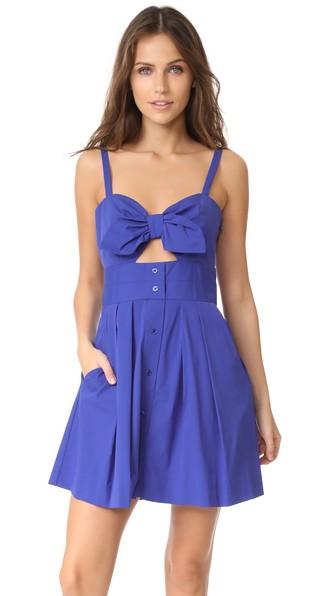 Milly Jordan Tie Mini Dress In Cobalt