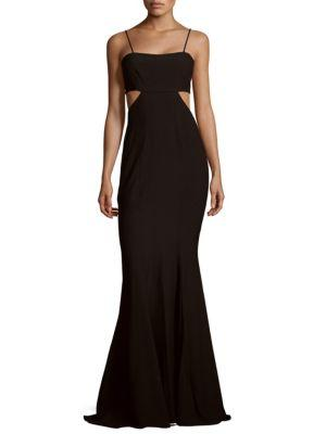 Zac Posen Fit-&-Flare Cutout Gown In Black