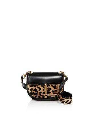 Salvatore Ferragamo Anna Leopard Print Calf Hair Shoulder Bag In Nero Black/Gold